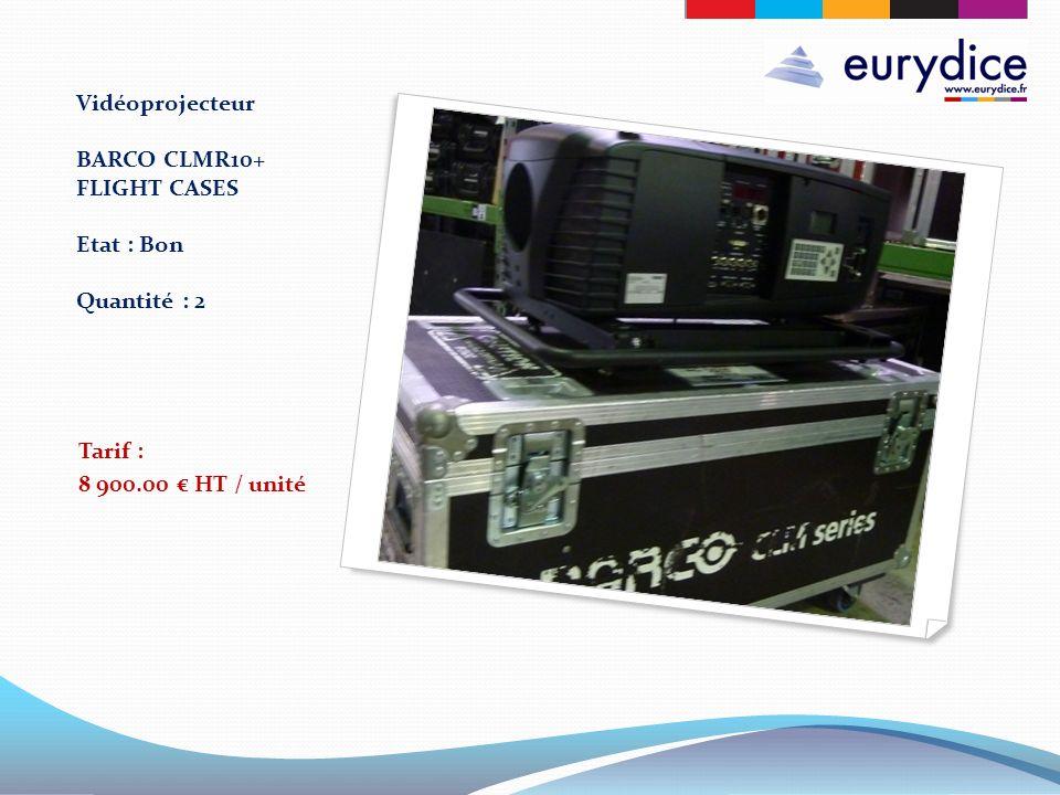 Vidéoprojecteur BARCO CLMR10+ FLIGHT CASES Etat : Bon Quantité : 2 Tarif : 8 900.00 HT / unité