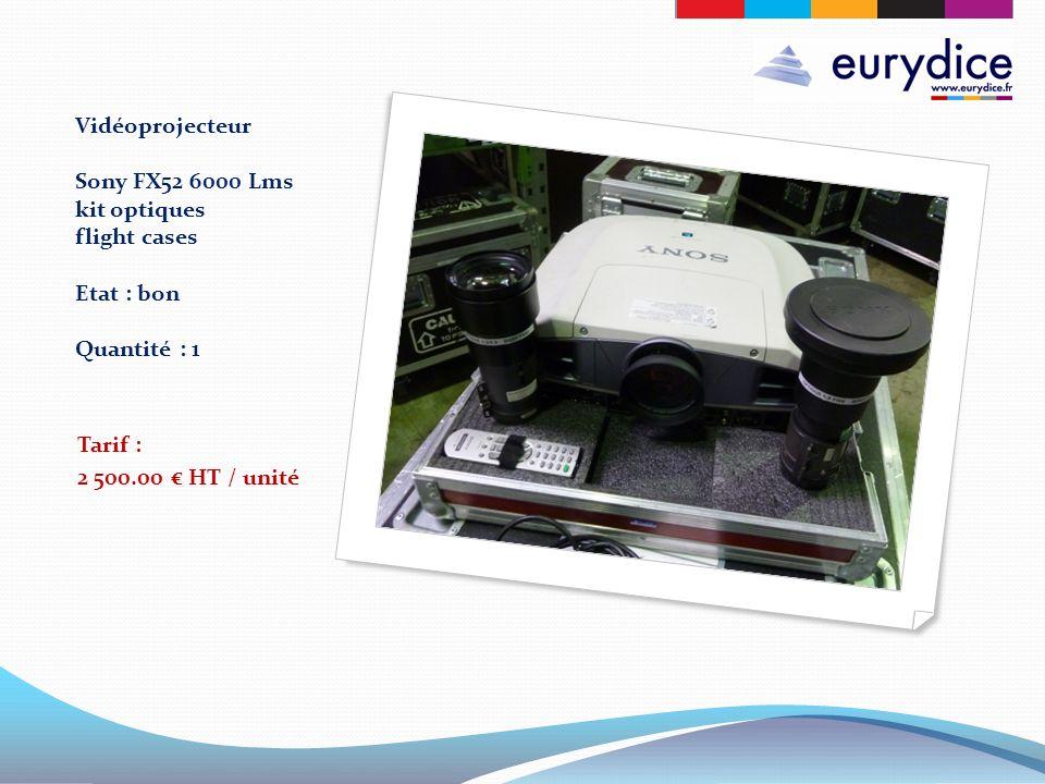 Vidéoprojecteur Sony FX52 6000 Lms kit optiques flight cases Etat : bon Quantité : 1 Tarif : 2 500.00 HT / unité