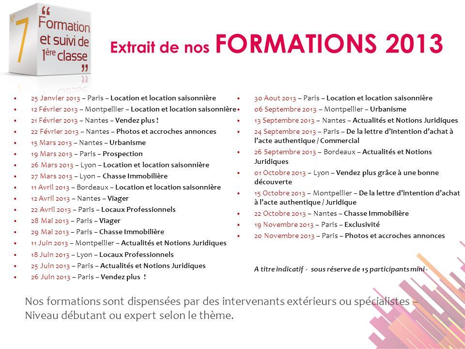 Extrait de nos FORMATIONS 2013 25 Janvier 2013 – Paris – Location et location saisonnière 12 Février 2013 – Montpellier – Location et location saisonn
