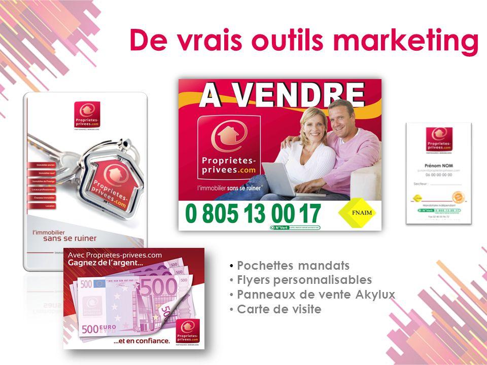 De vrais outils marketing Pochettes mandats Flyers personnalisables Panneaux de vente Akylux Carte de visite