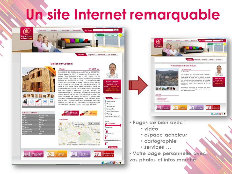 Un site Internet remarquable Pages de bien avec : vidéo espace acheteur cartographie services … Votre page personnelle avec vos photos et infos marché