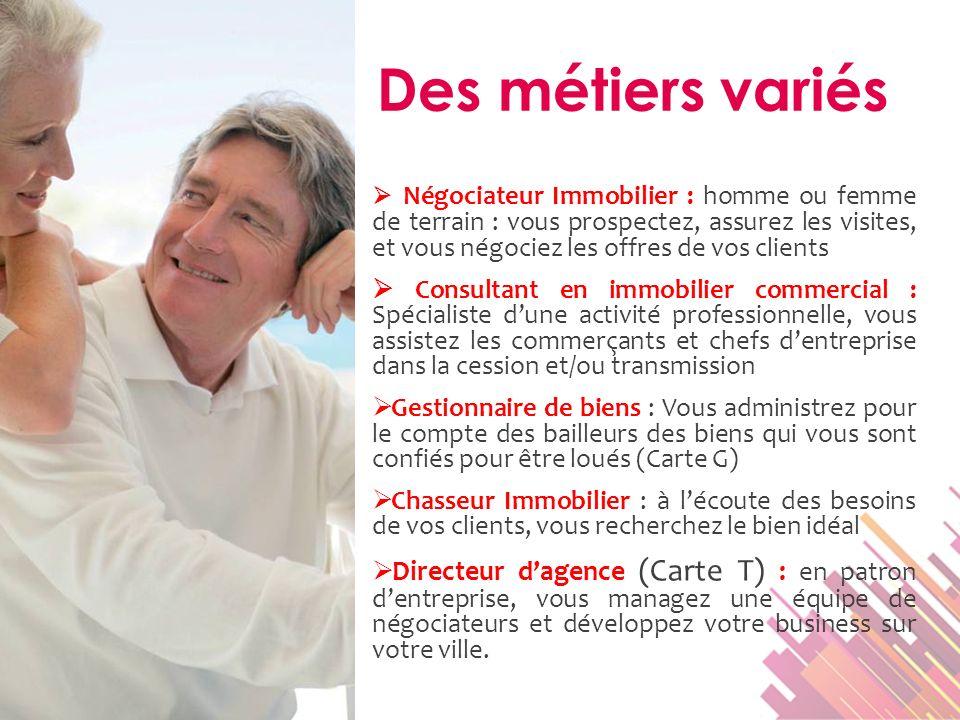 Négociateur Immobilier : homme ou femme de terrain : vous prospectez, assurez les visites, et vous négociez les offres de vos clients Consultant en im