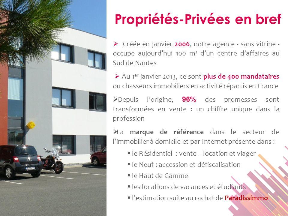 Propriétés-Privées en bref Créée en janvier 2006, notre agence - sans vitrine - occupe aujourdhui 100 m² dun centre daffaires au Sud de Nantes Au 1 er