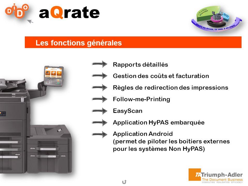aQrate Les fonctions générales Rapports détaillés Gestion des coûts et facturation Règles de redirection des impressions Follow-me-Printing EasyScan A