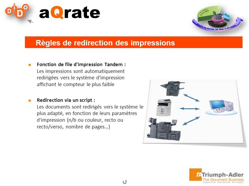 aQrate Règles de redirection des impressions Fonction de file d'impression Tandem : Les impressions sont automatiquement redirigées vers le système d'