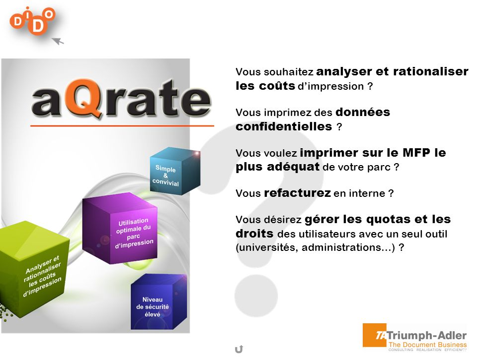 aQrate En bref… Une solution conviviale : Le fonctionnement d aQrate est est simple.