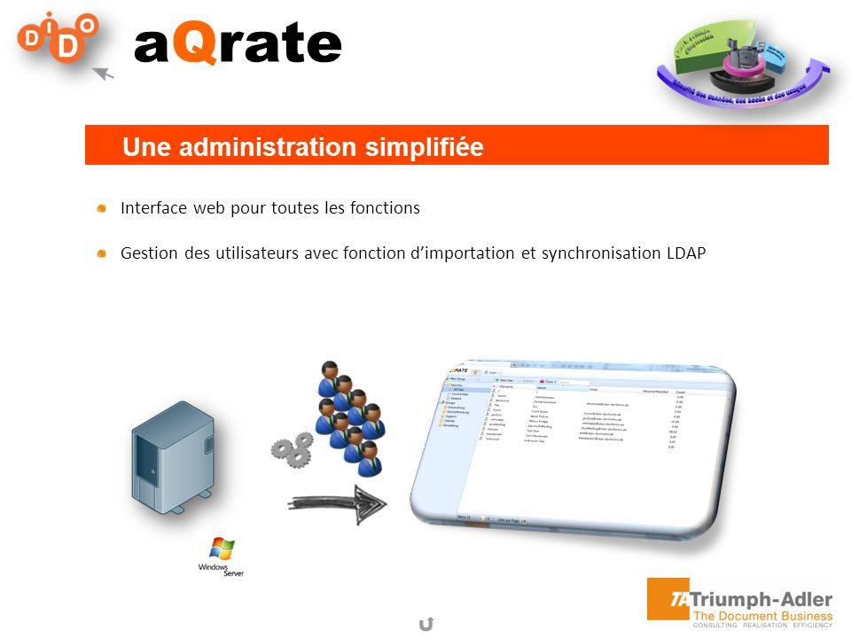 aQrate Interface web pour toutes les fonctions Gestion des utilisateurs avec fonction dimportation et synchronisation LDAP Une administration simplifi