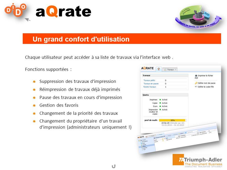 aQrate Chaque utilisateur peut accéder à sa liste de travaux via linterface web. Fonctions supportées : Suppression des travaux dimpression Réimpressi