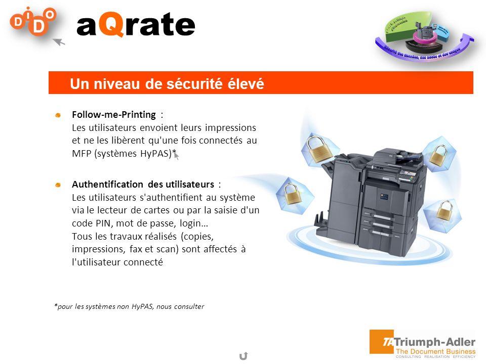 aQrate Follow-me-Printing : Les utilisateurs envoient leurs impressions et ne les libèrent qu'une fois connectés au MFP (systèmes HyPAS)* Authentifica