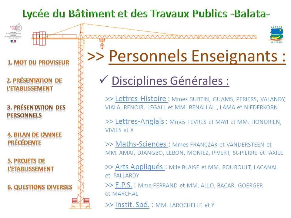 >> Personnels Enseignants : Disciplines Générales : >> Lettres-Histoire : Mmes BURTIN, GUAMS, PERIERS, VALANDY, VIALA, RENOIR, LEGALL et MM.