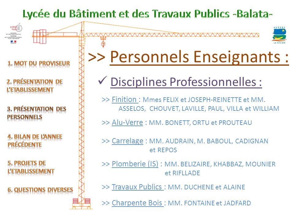 >> Personnels Enseignants : Disciplines Professionnelles : >> Finition : Mmes FELIX et JOSEPH-REINETTE et MM.