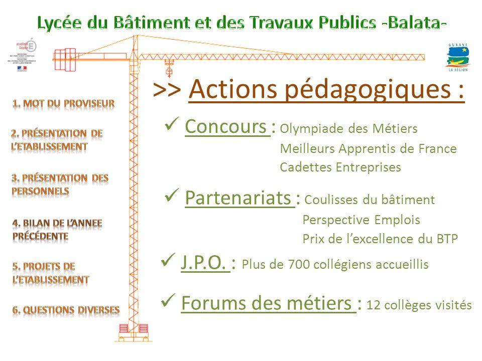>> Actions pédagogiques : Concours : Olympiade des Métiers Meilleurs Apprentis de France Cadettes Entreprises Partenariats : Coulisses du bâtiment J.P.O.