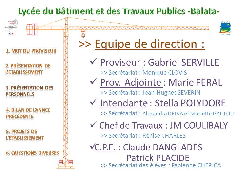 >> Equipe de direction : Proviseur : Gabriel SERVILLE Prov.-Adjointe : Marie FERAL Intendante : Stella POLYDORE Chef de Travaux : JM COULIBALY C.P.E.