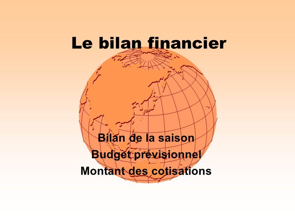 Le bilan financier Bilan de la saison Budget prévisionnel Montant des cotisations