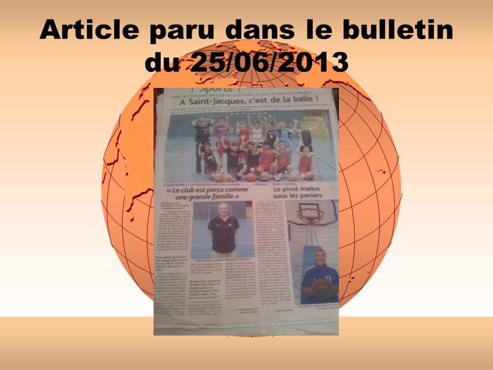 Article paru dans le bulletin du 25/06/2013