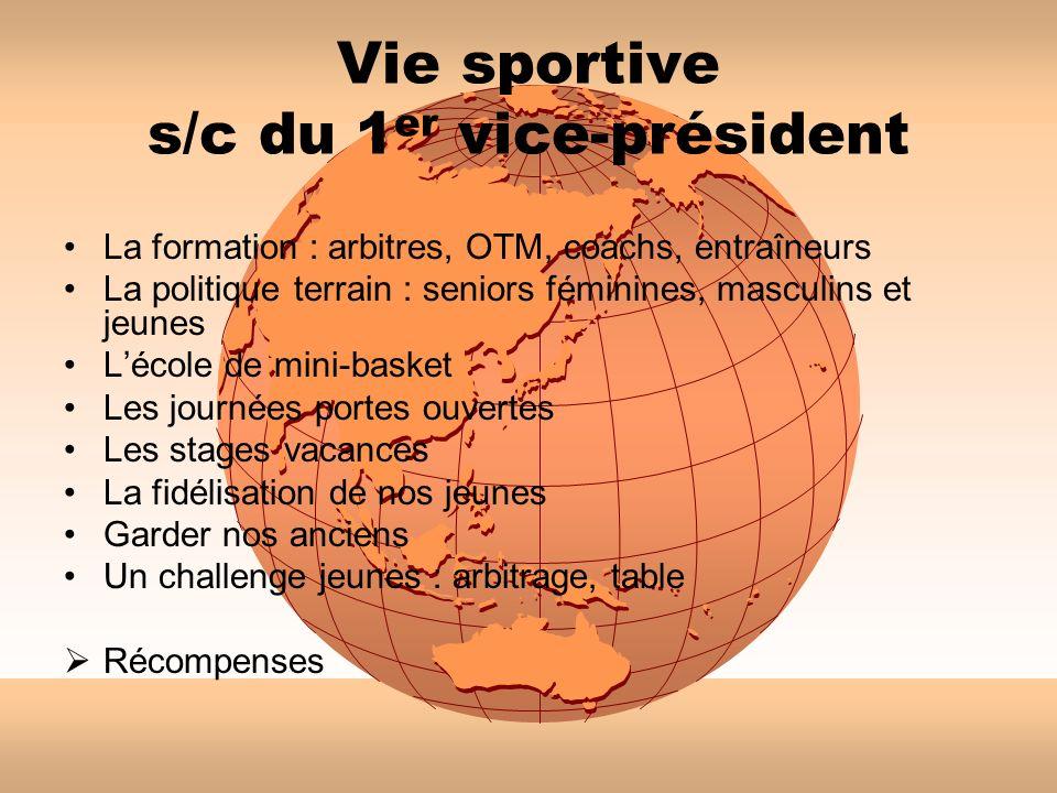 Vie sportive s/c du 1 er vice-président La formation : arbitres, OTM, coachs, entraîneurs La politique terrain : seniors féminines, masculins et jeune