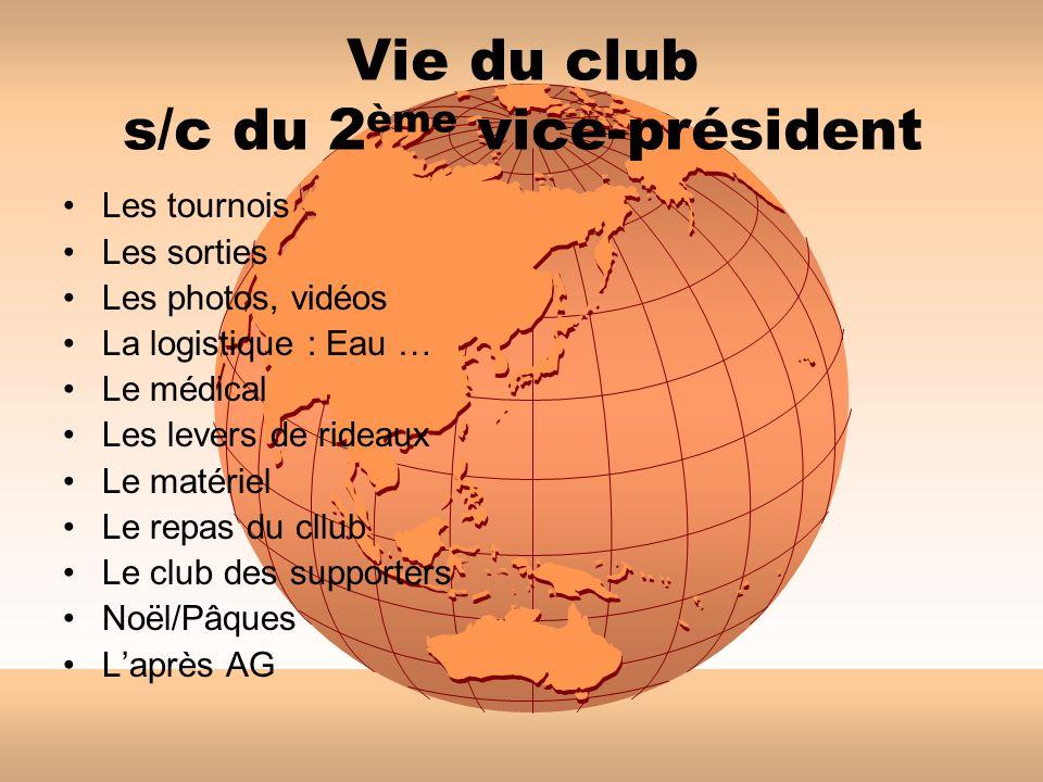 Vie du club s/c du 2 ème vice-président Les tournois Les sorties Les photos, vidéos La logistique : Eau … Le médical Les levers de rideaux Le matériel