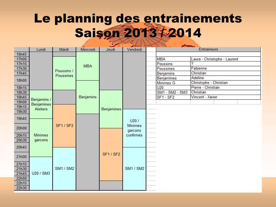 Le planning des entrainements Saison 2013 / 2014