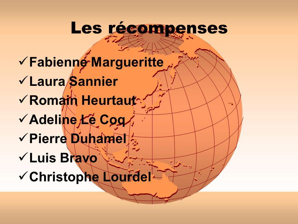 Les récompenses Fabienne Margueritte Laura Sannier Romain Heurtaut Adeline Le Coq Pierre Duhamel Luis Bravo Christophe Lourdel