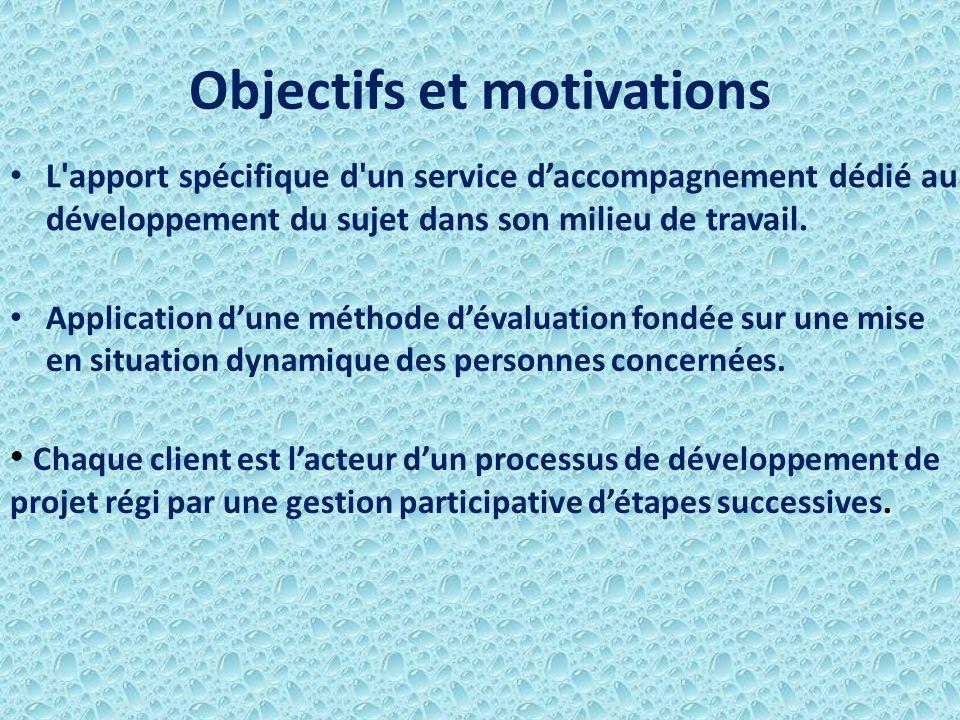 Objectifs et motivations L'apport spécifique d'un service daccompagnement dédié au développement du sujet dans son milieu de travail. Chaque client es