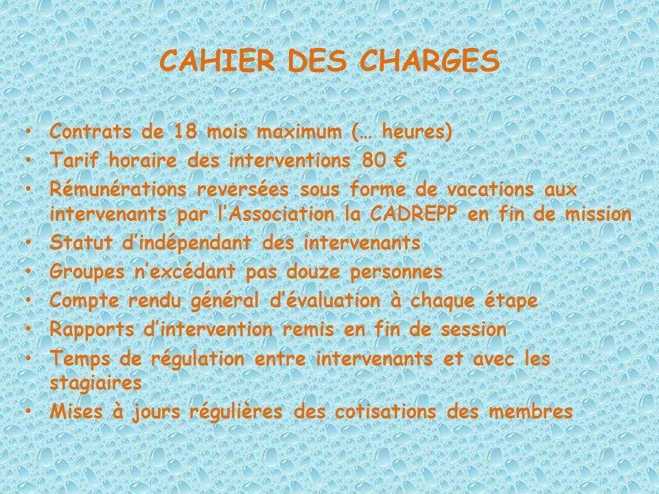 CAHIER DES CHARGES Contrats de 18 mois maximum (… heures) Tarif horaire des interventions 80 Rémunérations reversées sous forme de vacations aux inter
