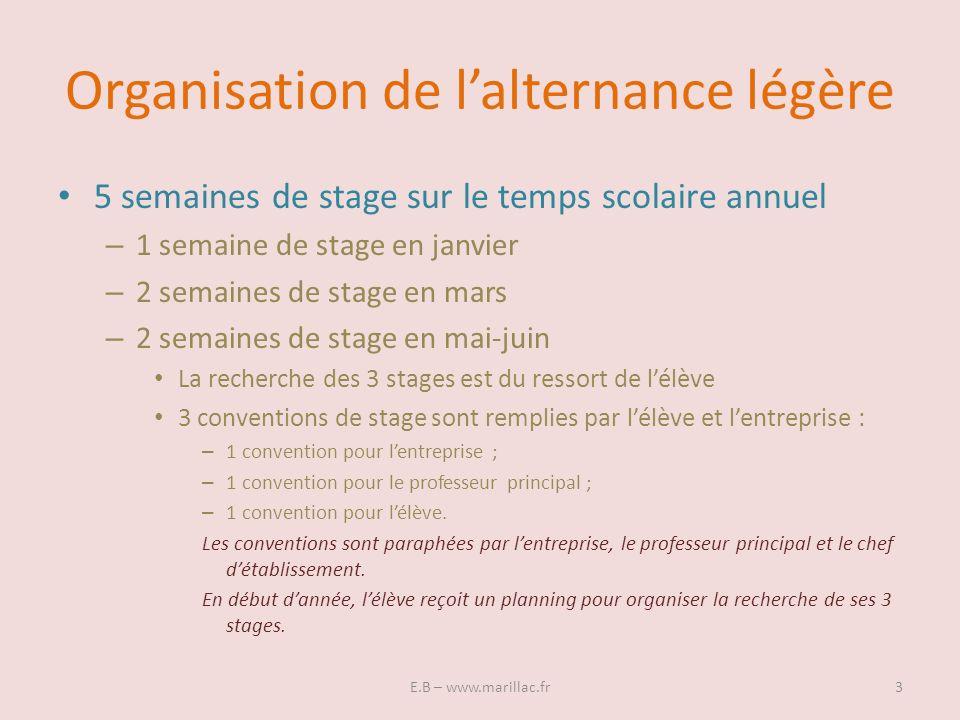 Organisation de lalternance légère 5 semaines de stage sur le temps scolaire annuel – 1 semaine de stage en janvier – 2 semaines de stage en mars – 2