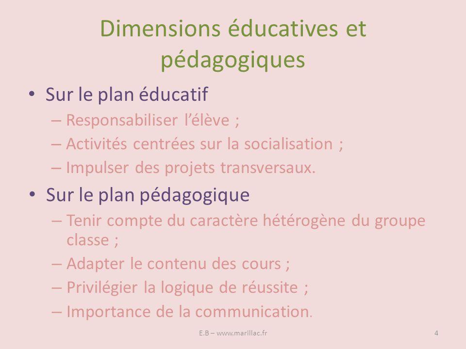 Dimensions éducatives et pédagogiques Sur le plan éducatif – Responsabiliser lélève ; – Activités centrées sur la socialisation ; – Impulser des proje