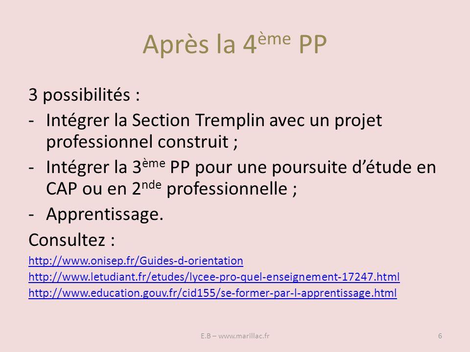 Après la 4 ème PP E.B – www.marillac.fr6 3 possibilités : -Intégrer la Section Tremplin avec un projet professionnel construit ; -Intégrer la 3 ème PP