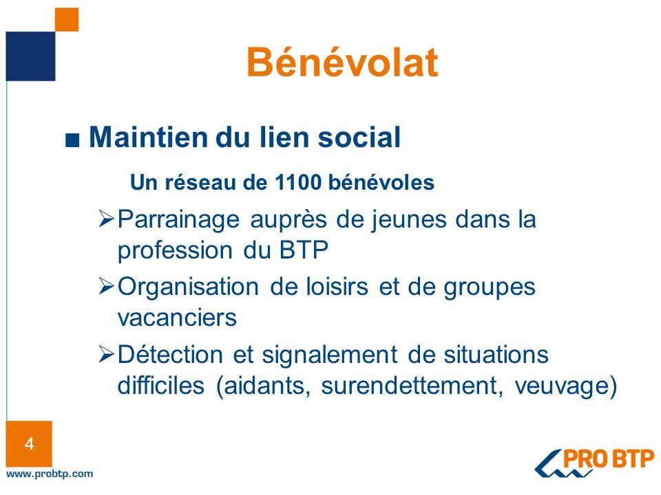 4 4 Bénévolat Maintien du lien social Un réseau de 1100 bénévoles Parrainage auprès de jeunes dans la profession du BTP Organisation de loisirs et de