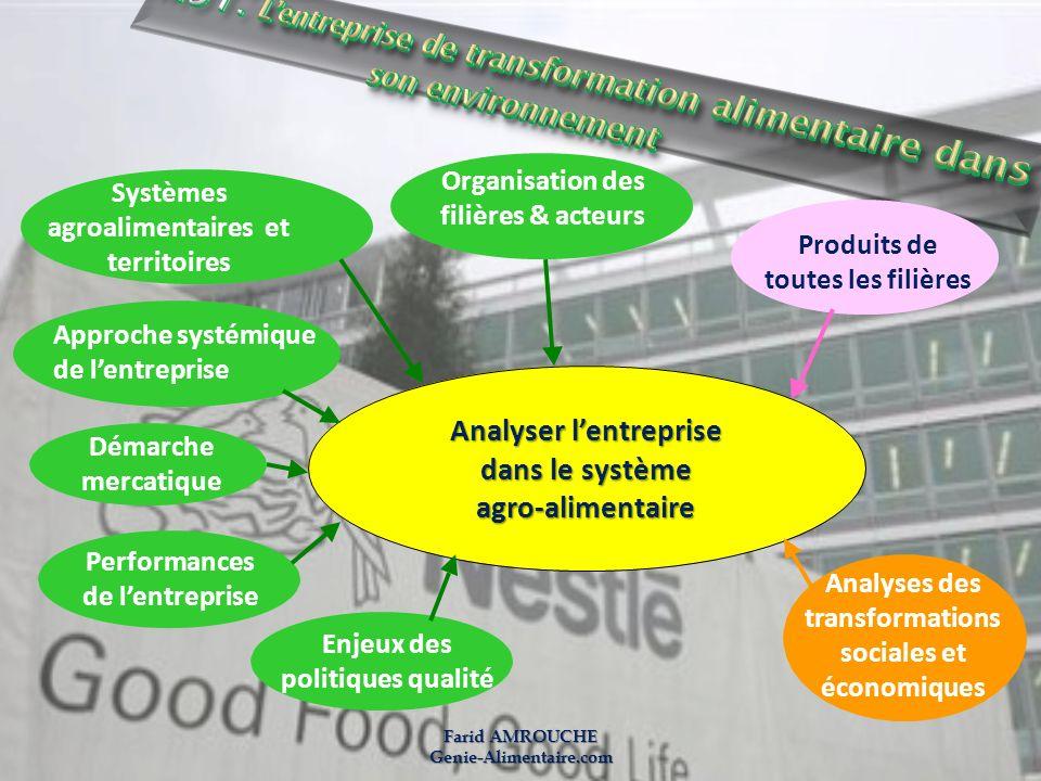 Produits de toutes les filières Analyser lentreprise dans le système agro-alimentaire Analyses des transformations sociales et économiques Organisatio