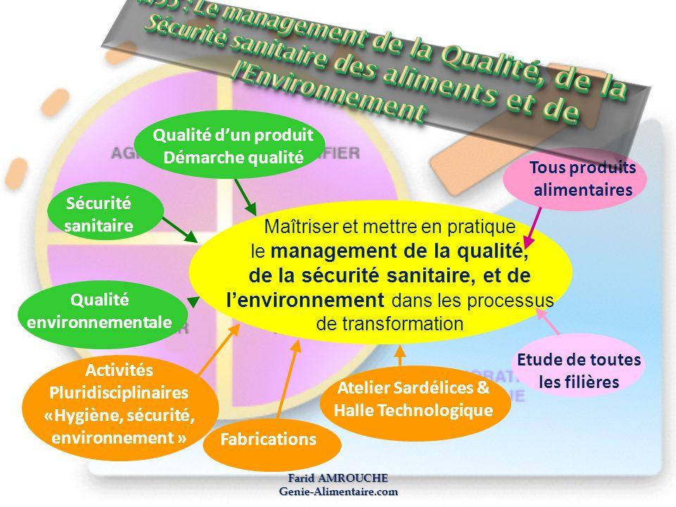 Farid AMROUCHE Genie-Alimentaire.com Maîtriser et mettre en pratique le management de la qualité, de la sécurité sanitaire, et de lenvironnement dans