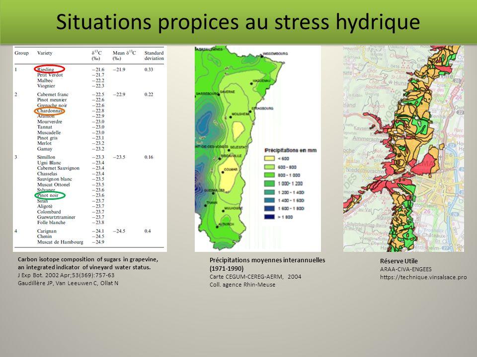 Situations propices au stress hydrique Précipitations moyennes interannuelles (1971-1990) Carte CEGUM-CEREG-AERM, 2004 Coll. agence Rhin-Meuse Réserve