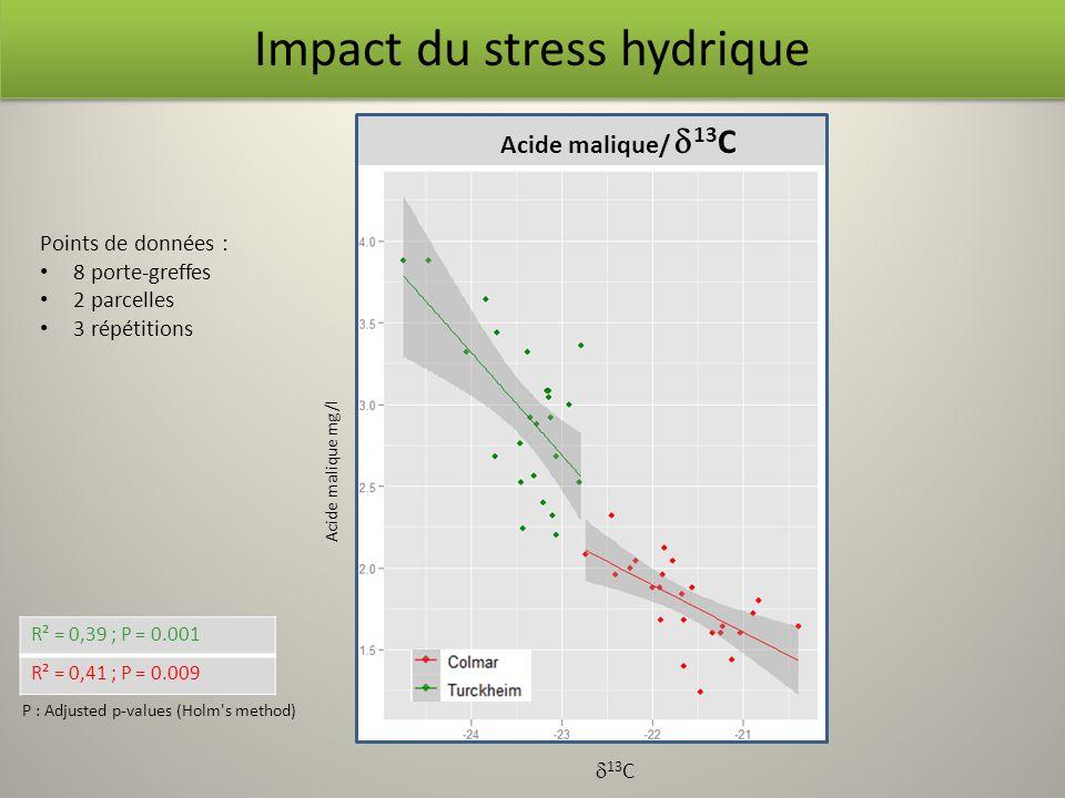 Acide malique/ 13 C R² = 0,39 ; P = 0.001 R² = 0,41 ; P = 0.009 P : Adjusted p-values (Holm's method) Impact du stress hydrique Acide malique mg/l 13