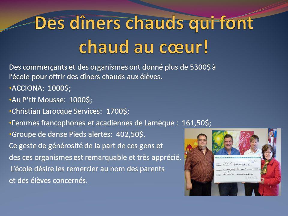 Des commerçants et des organismes ont donné plus de 5300$ à lécole pour offrir des dîners chauds aux élèves.