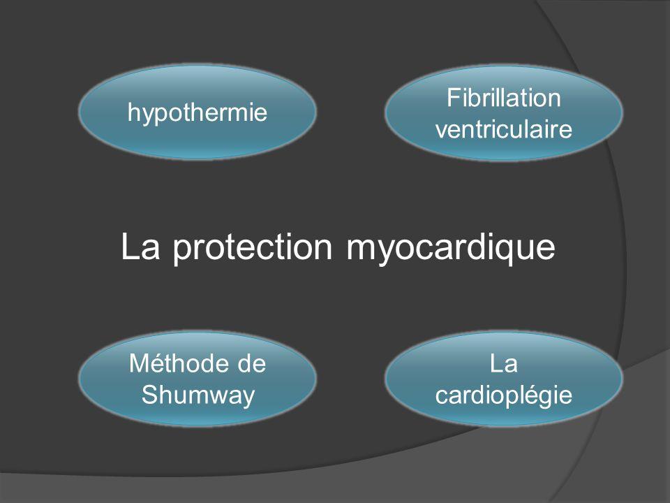 La protection myocardique hypothermie Fibrillation ventriculaire Méthode de Shumway La cardioplégie