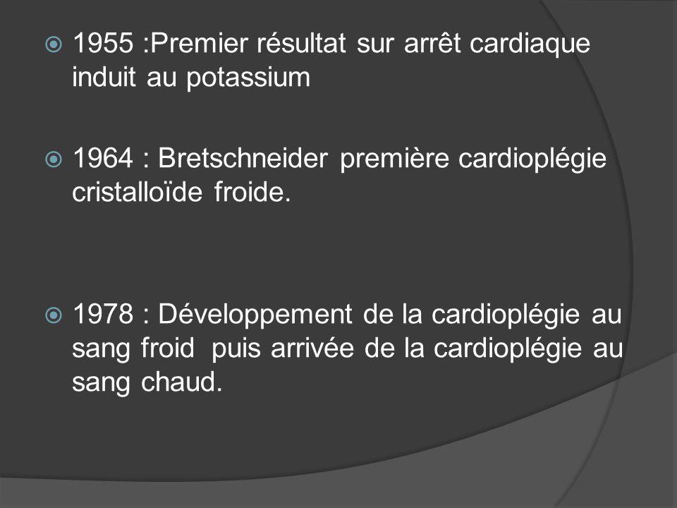 1955 :Premier résultat sur arrêt cardiaque induit au potassium 1964 : Bretschneider première cardioplégie cristalloïde froide. 1978 : Développement de