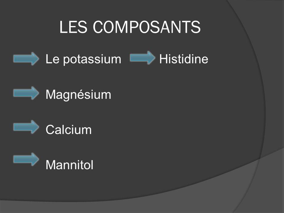 LES COMPOSANTS Le potassium Histidine Magnésium Calcium Mannitol