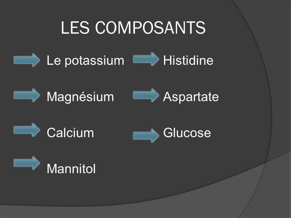 LES COMPOSANTS Le potassium Histidine MagnésiumAspartate CalciumGlucose Mannitol