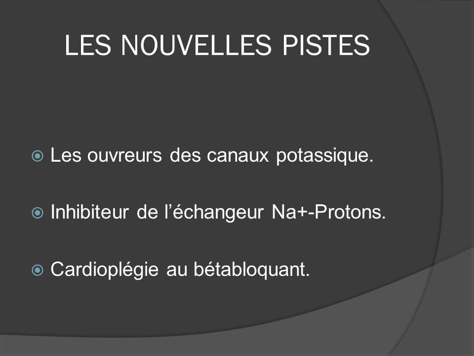 LES NOUVELLES PISTES Les ouvreurs des canaux potassique. Inhibiteur de léchangeur Na+-Protons. Cardioplégie au bétabloquant.