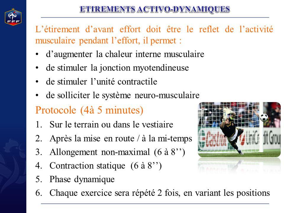 Létirement davant effort doit être le reflet de lactivité musculaire pendant leffort, il permet : daugmenter la chaleur interne musculaire de stimuler