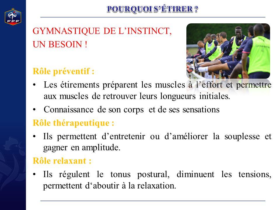 GYMNASTIQUE DE LINSTINCT, UN BESOIN ! Rôle préventif : Les étirements préparent les muscles à leffort et permettre aux muscles de retrouver leurs long