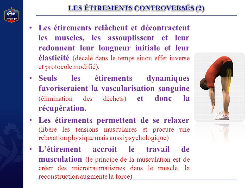Les étirements relâchent et décontractent les muscles, les assouplissent et leur redonnent leur longueur initiale et leur élasticité (décalé dans le t