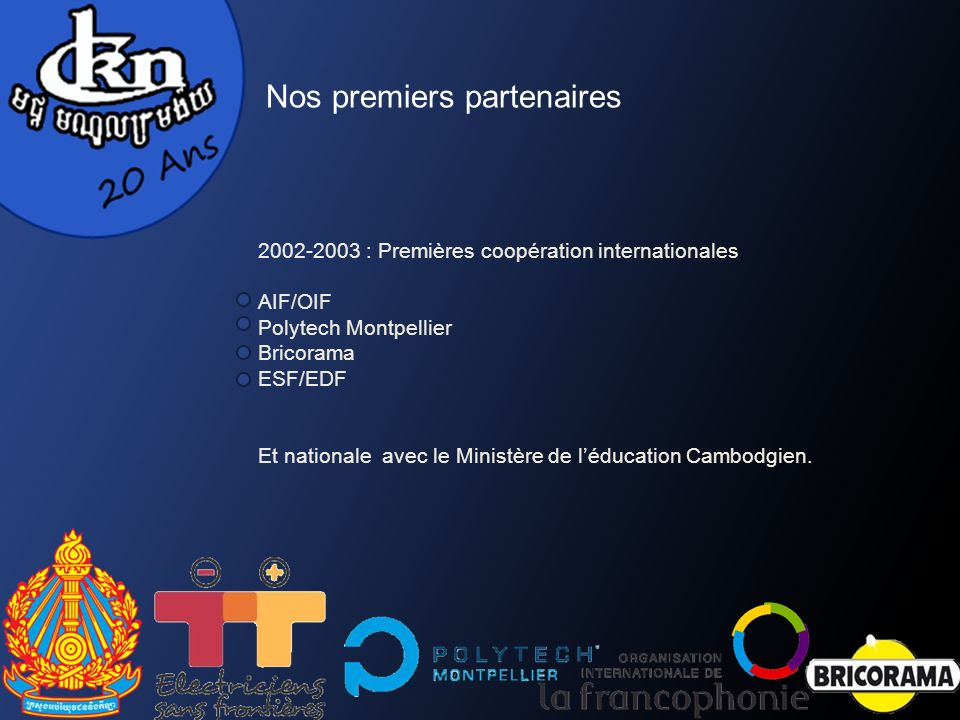 2002-2003 : Premières coopération internationales AIF/OIF Polytech Montpellier Bricorama ESF/EDF Et nationale avec le Ministère de léducation Cambodgien.