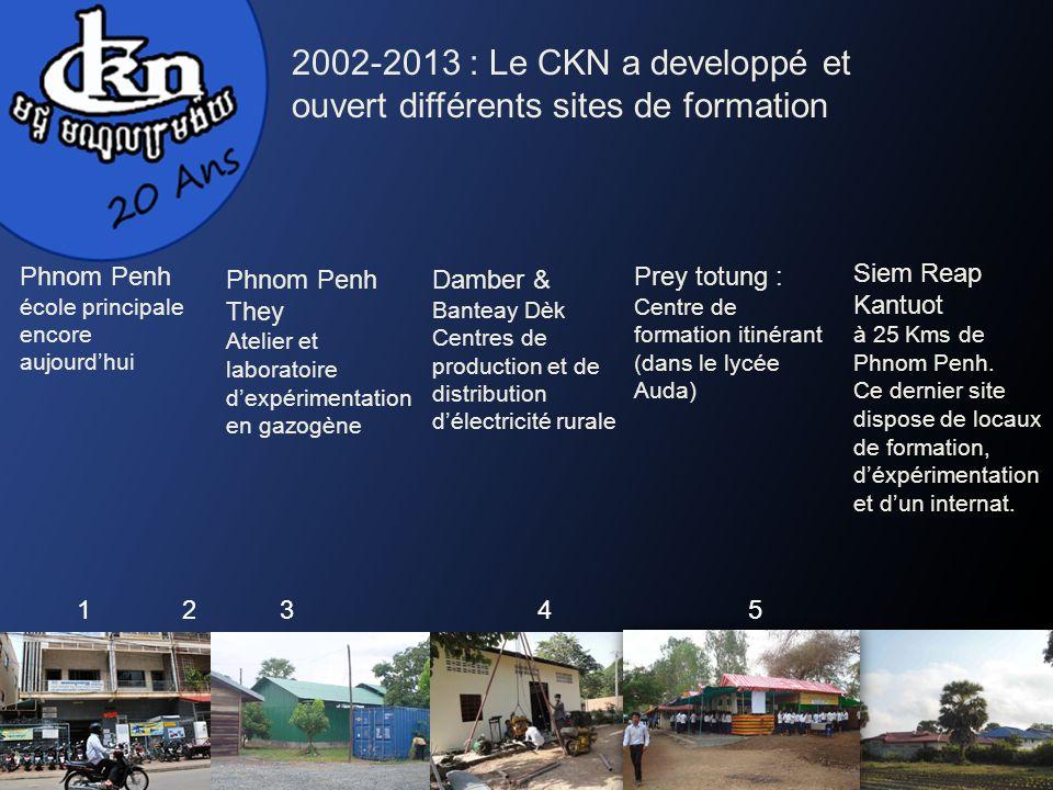 Siem Reap Kantuot à 25 Kms de Phnom Penh. Ce dernier site dispose de locaux de formation, déxpérimentation et dun internat. 2002-2013 : Le CKN a devel