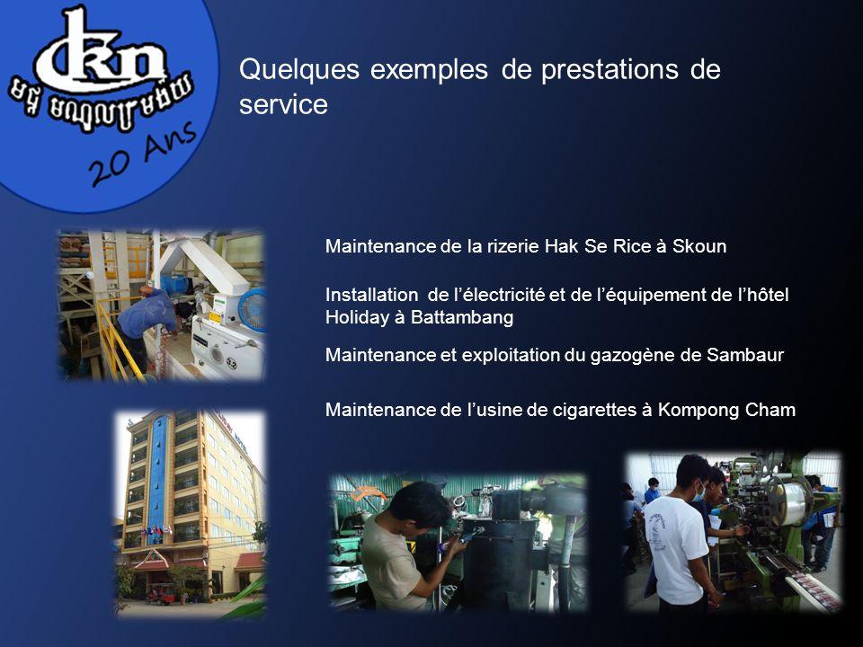 Quelques exemples de prestations de service Maintenance de lusine de cigarettes à Kompong Cham Maintenance de la rizerie Hak Se Rice à Skoun Installation de lélectricité et de léquipement de lhôtel Holiday à Battambang Maintenance et exploitation du gazogène de Sambaur