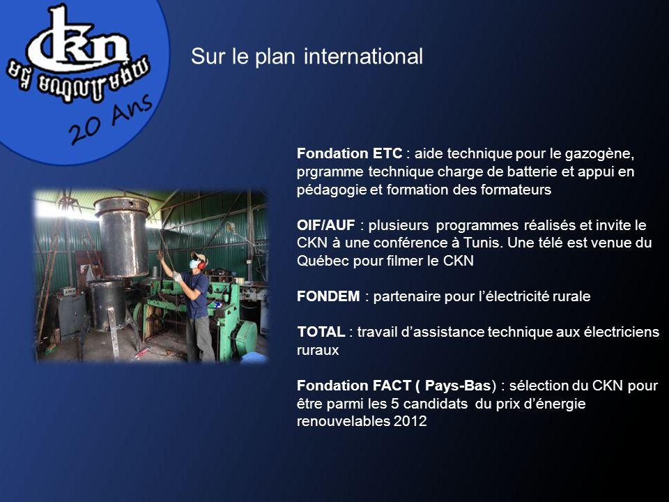 Sur le plan international Fondation ETC : aide technique pour le gazogène, prgramme technique charge de batterie et appui en pédagogie et formation des formateurs OIF/AUF : plusieurs programmes réalisés et invite le CKN à une conférence à Tunis.