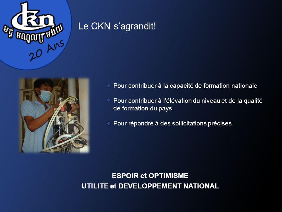 Le CKN sagrandit! Pour contribuer à la capacité de formation nationale Pour contribuer à lélévation du niveau et de la qualité de formation du pays Po