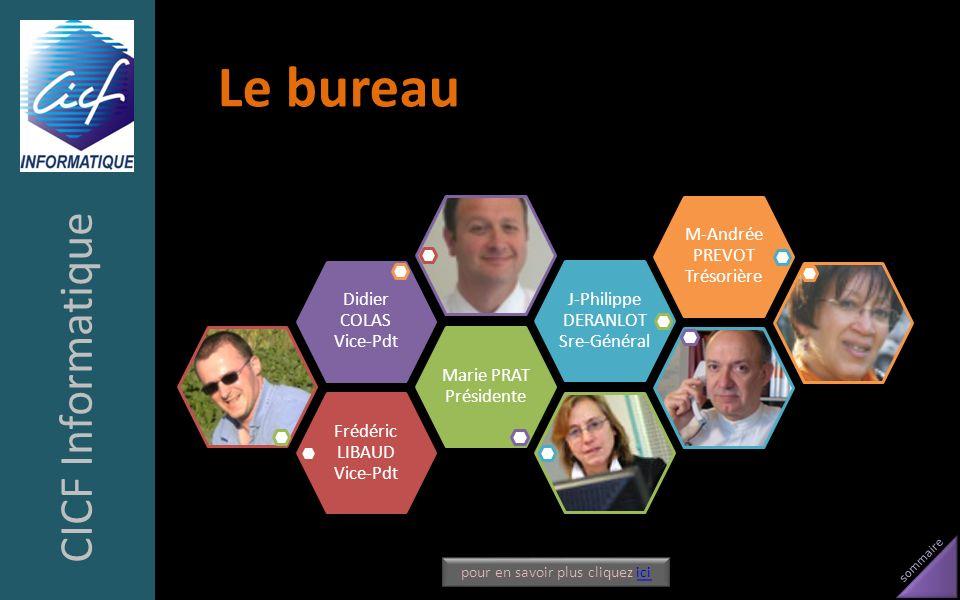 sommaire Le bureau CICF Informatique Frédéric LIBAUD Vice-Pdt Marie PRAT Présidente Didier COLAS Vice-Pdt J-Philippe DERANLOT Sre-Général M-Andrée PRE