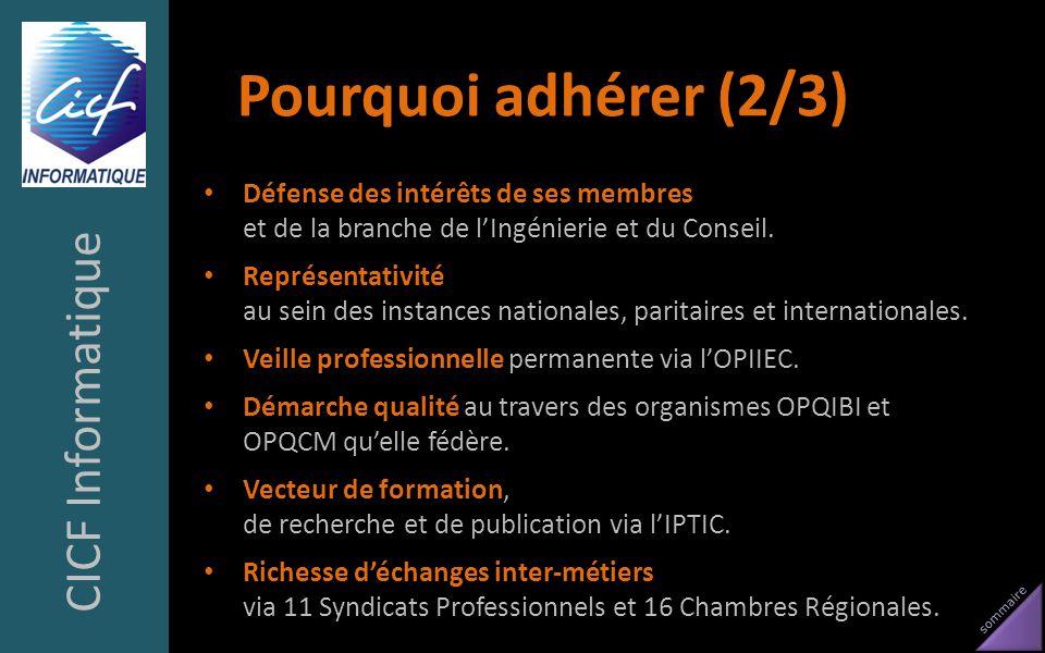 sommaire Pourquoi adhérer (2/3) Défense des intérêts de ses membres et de la branche de lIngénierie et du Conseil. Représentativité au sein des instan