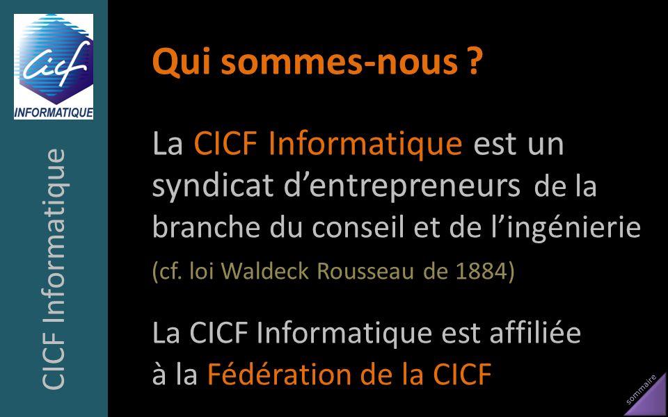 sommaire Qui sommes-nous ? La CICF Informatique est un syndicat dentrepreneurs de la branche du conseil et de lingénierie (cf. loi Waldeck Rousseau de